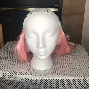🎃Pink Wig with Attached Glitter Bandana